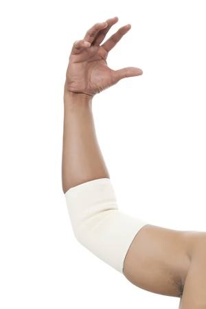 elbow sleeve: Elbow Bandage Support in a male arm