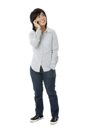 Portrait of girl wearing casual smiling while attire taking through cellphone Stock Photo - 17391880