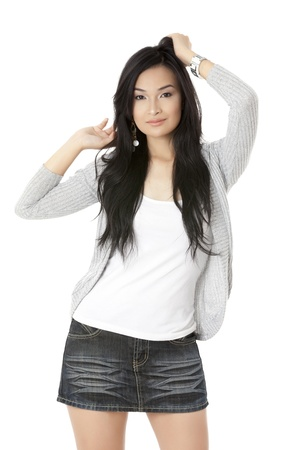 Portrait of a gorgeous model posing for the camera isolated in a white background