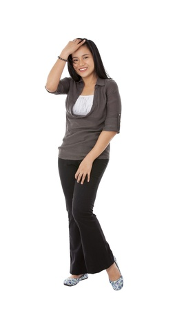 casual attire: Portrait of happy woman wearing casual attire