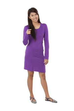 pinay: Illustration of lady wearing long sleeve fashion casual dress