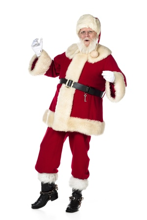 free christmas background: Portrait shot of Father Santa Claus dancing against white background. Model: Larry Lantz