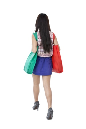 pinay: Rare view of lady with shopping bag against white background
