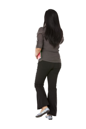 pinoy: Rear view of a Asian female walking with files against white background. Model: Rachelle Vinluan Stock Photo