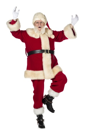 Close-up of Santa Claus dancing over white background Stock Photo - 17390829