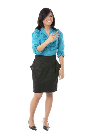 pinay: A happy woman wearing skirt with business attire