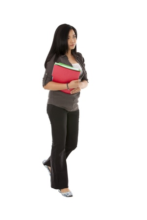 pinay: Image of young executive holding files over the white background Stock Photo