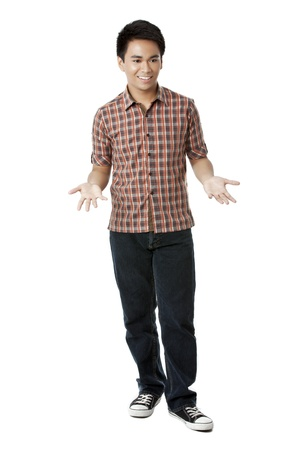 Portrait of a young man making a no more sign gesture standing on a white background photo