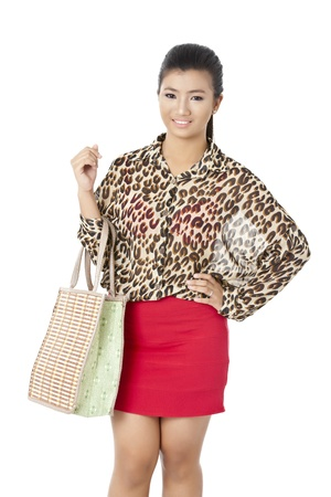 pinay: Fabulous young female carrying a bag on her arms as she poses for the camera