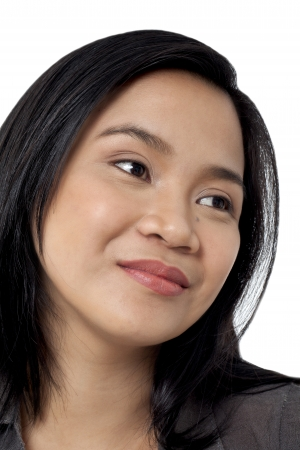 A close-up portrait of a face of a lady isolated on a white background photo