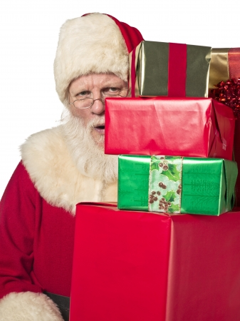 Portrait of Father Santa Claus holding stack gift box. Model: Larry Lantz Stock Photo - 17390863