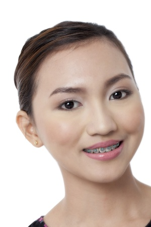 Close up image of a smiling face of a pretty Asian isolated on photo