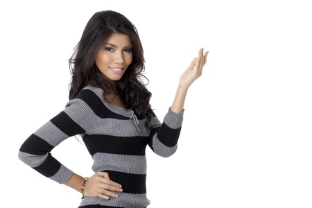 pinay: Portrait of woman wearing Stripe Roll Sleeve Top with hand on her hip