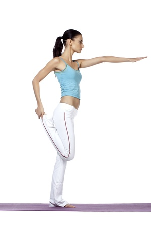 Illustration of Young fitness woman making fitness against white background illustration