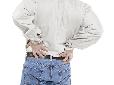 old man on a physical pressure: Old man with back pain in a close-up image