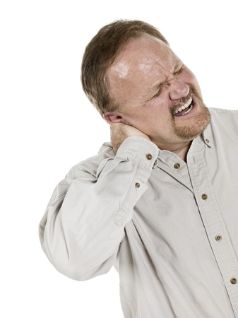 Image of aged man suffering neck pain against white background photo