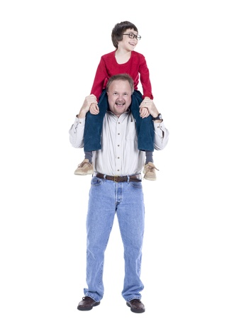 Happy father carrying his son on his back over a white background Stock Photo - 17492836