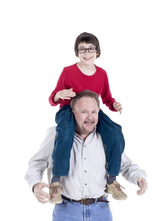 hoists: Image of happy senior man and little boy against white background