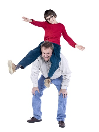 knee bend: Close-up image of an old man carrying his grandson on his shoulder happy playing on a white background Stock Photo