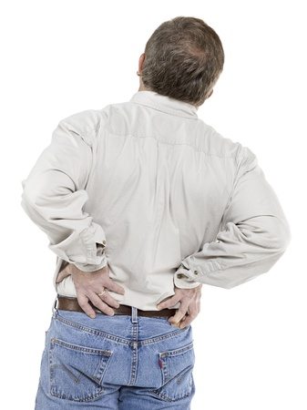 back ache: Image of old man suffering back pain against white background Stock Photo