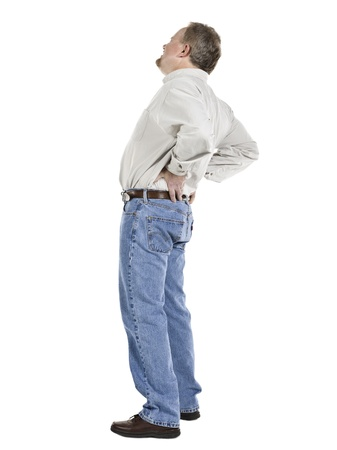 dolor de espalda: Imagen de un anciano sosteniendo su sufrimiento baja de la espalda de dolor de espalda Foto de archivo