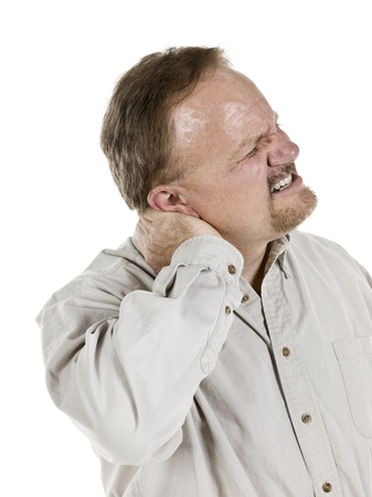 Old man with aching neck isolated in a white background Stock Photo - 17492968