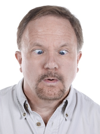 Close-up image of a senior man looking down with an eye crossed Stock Photo - 17492957
