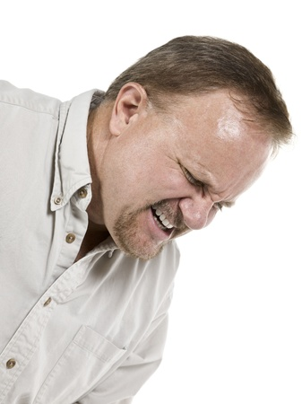 Cropped image of an old man suffering great pain isolated in a white background photo