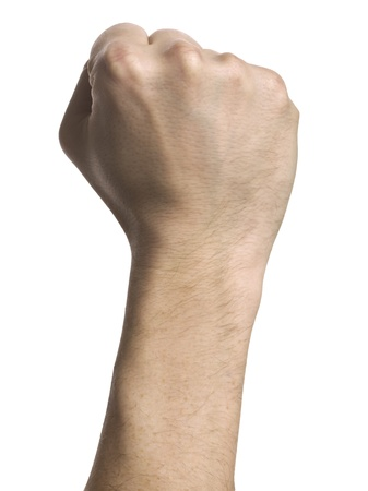 closed fist sign: Close up image of human fist isolated on white background Stock Photo
