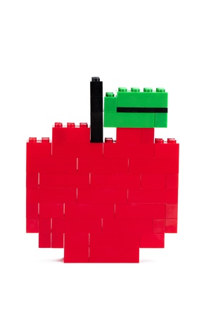 plastic bricks: Red apple made out of plastic bricks Stock Photo