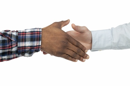 Close-up image of hand of African and American people doing a handshake over the white background Stock Photo - 17493016