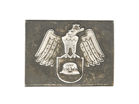 Close-up shot of a German army belt buckle with eagle sign on it. photo