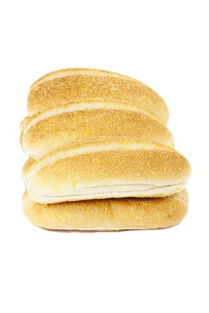 Heap of baguette bread loaf against white background