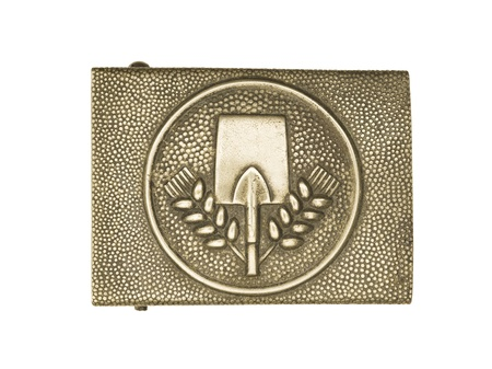 Close-up shot of a German army belt buckle with shovel sign on it. Stock Photo - 17492859
