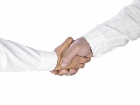 the sleeve: Image of two businessmen wearing long sleeve shaking hands