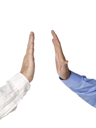 Close-up of business person hands giving a high five photo