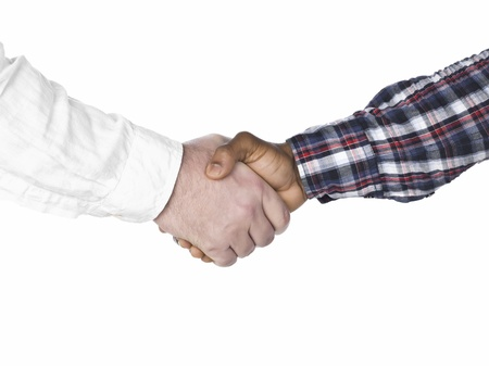 Close up image of business shakes hands between two colleagues against white background