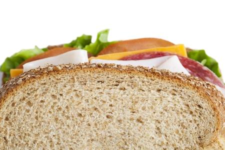 Cropped image of ham sandwich against white background Stock Photo - 17488283