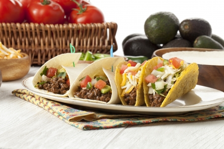 Plate of delicious tacos served in a table with napkin Stock Photo