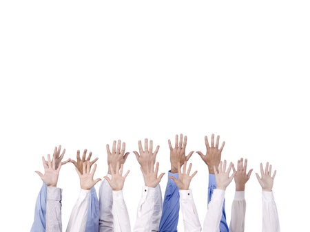 admirers: Diverse group of hands reaching into the air over a white background Stock Photo
