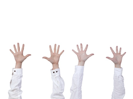 Four human hands raised over the white background Stock Photo - 17484773