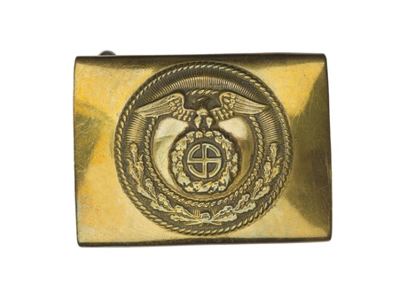 Close-up image of a German military belt buckle with swastika and eagle symbol. Stock Photo - 17488767