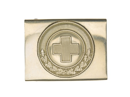 Close-up shot of a German military belt buckle with plus sign on it. Stock Photo - 17489576