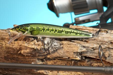 lure fishing: Pesca con esche artificiali verde in un close-up immagine