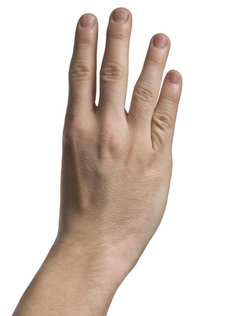 Human hand showing four fingers photo