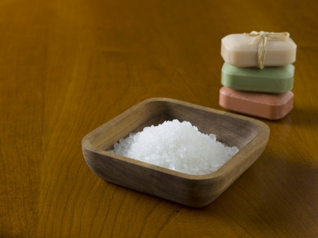 Herbal salt and pile of soap use in spa