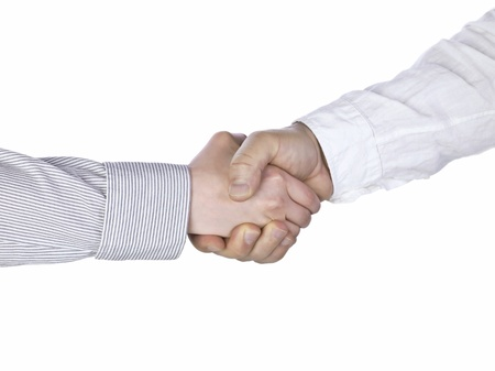 Human hands doing a handshake over a white background