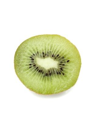 Slice of fresh kiwifruit in a close-up image