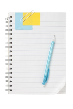 ball pen: Close up image of open notebook with ball pen and note against white background Stock Photo