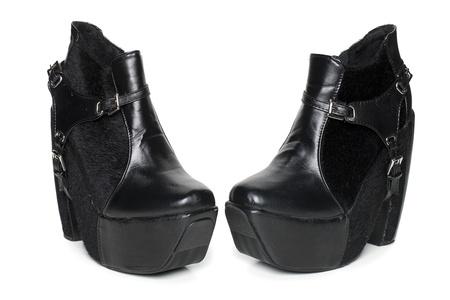 Een Moderne Paar Zwarte Korte Laarzen Met Hoge Hakken En